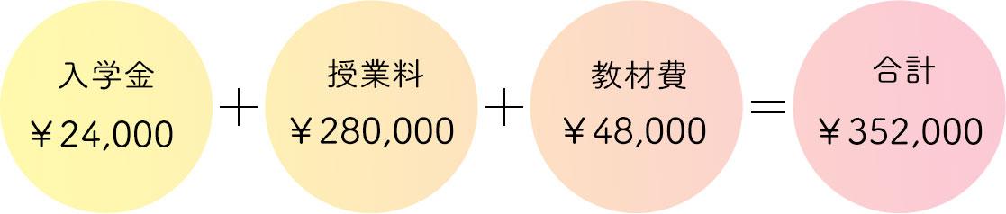 入学金¥24,000+授業料¥280,000+教材費¥48,000=合計¥352,000